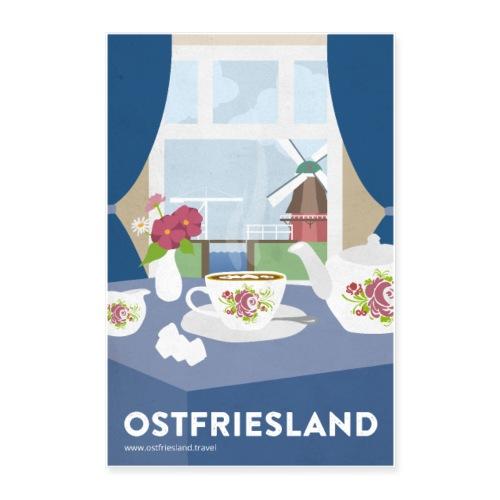 Ostfriesland Vintage Travel Poster - Tee und Mühle - Poster 40x60 cm