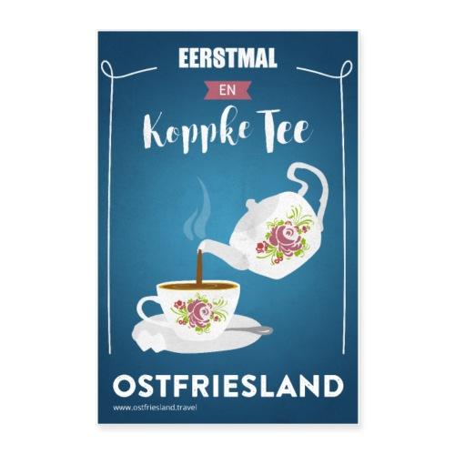 Ostfriesland Vintage Travel Poster - Teekanne - Poster 40x60 cm