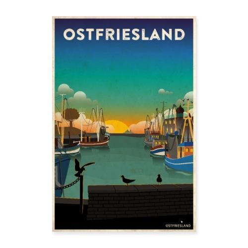 Ostfriesland - Vintage Travel Poster / Kutterhafen - Poster 40x60 cm
