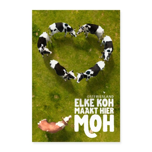 Ostfriesland Travel Poster - Kuh und Milch - Poster 40x60 cm