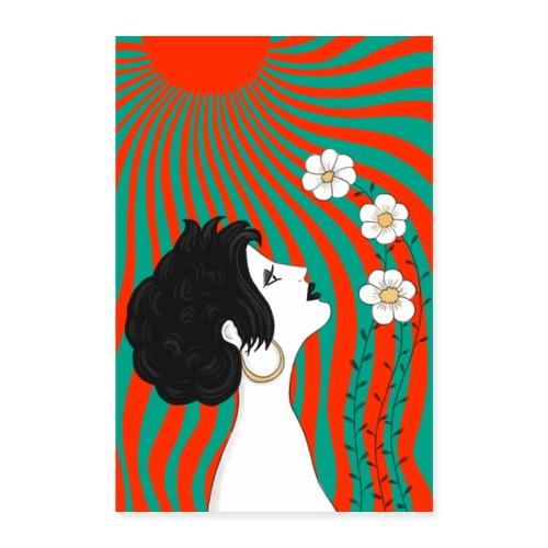 Frau mit Blumen in der Sonnen - Jugendstil Poster - Poster 40x60 cm