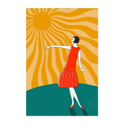 Tanzende Frau in der Sonne - Jugendstil Poster - Poster 40x60 cm