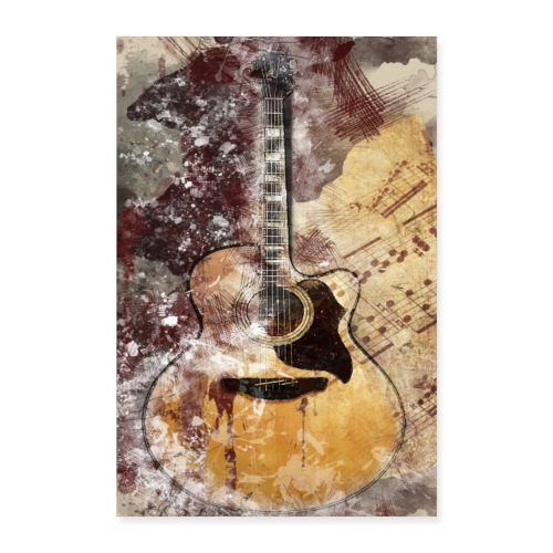 Acoustic Guitar Art - Poster 40x60 cm