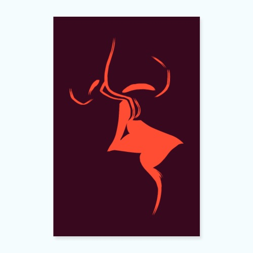 A dear kiss - minimalism lines drawing - Poster 16 x 24 (40x60 cm)