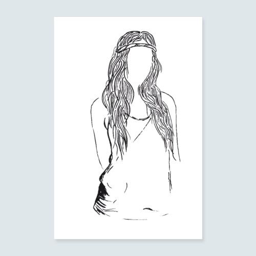 Hippie Lady - Poster 40x60 cm