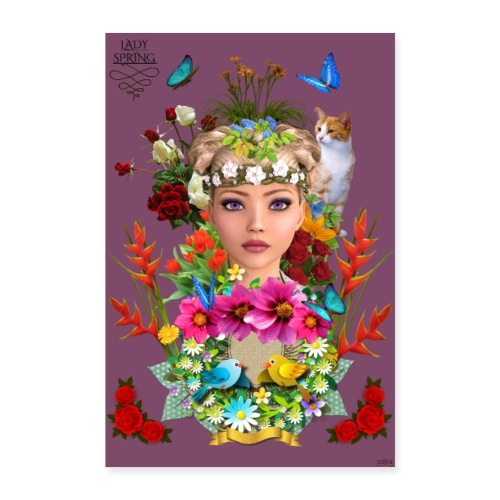 Poster - Lady spring - couleur vin - Poster 40 x 60 cm