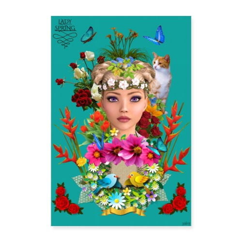 Poster - Lady spring - couleur bleu ocean - Poster 40 x 60 cm