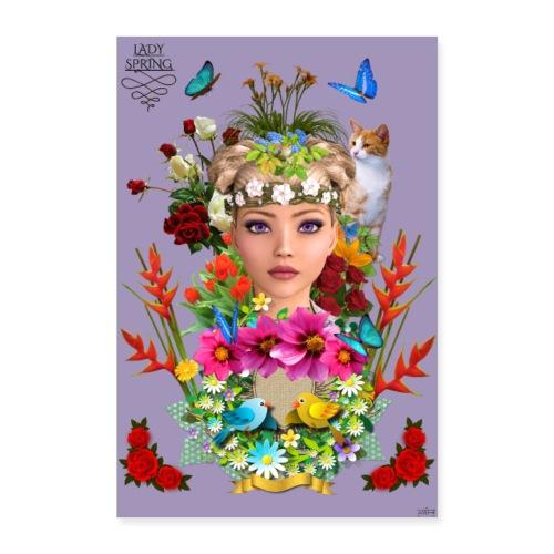 Poster - Lady spring - couleur orchidée - Poster 40 x 60 cm