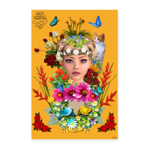 Poster - Lady spring - couleur orange - Poster 40 x 60 cm