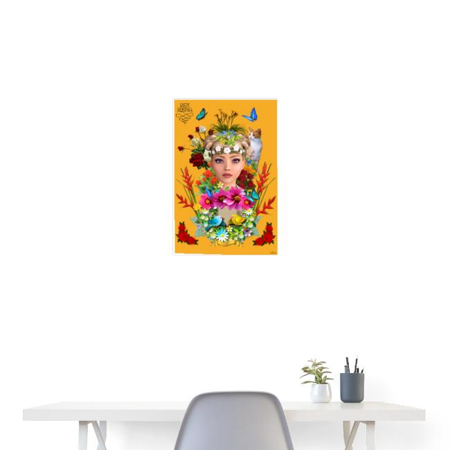 Poster - Lady spring - couleur orange