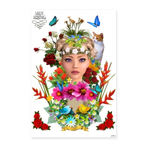 Poster - Lady spring - by T-shirt chic et choc - Poster 40 x 60 cm