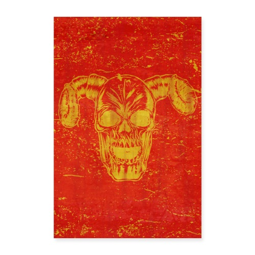 skull with horns poster design gift idea - Poster 40x60 cm