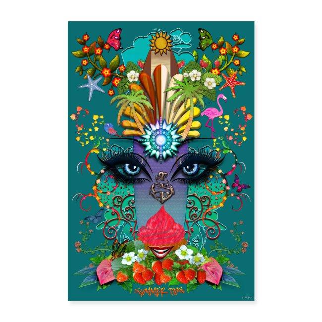 Poster - Summer Time - couleur bleu paon