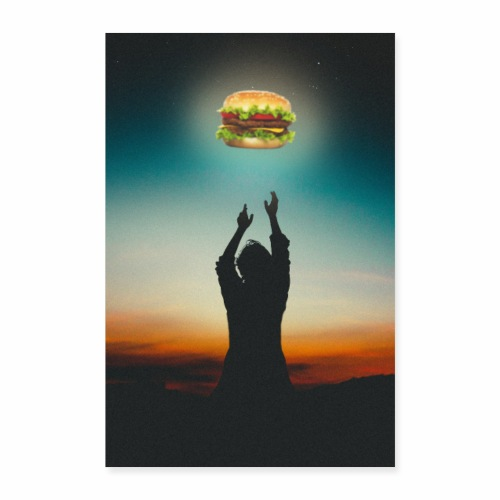 Hamburger in The Sky - Poster 40x60 cm