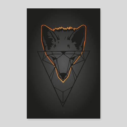 Fuchs Geometrie dunkel - Poster 40x60 cm