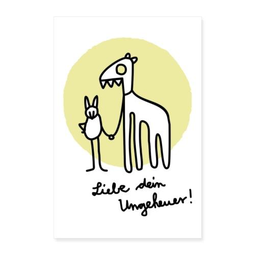 LIEBE DEIN UNGEHEUER kiwi Für Pärchen und Yogis - Poster 40x60 cm