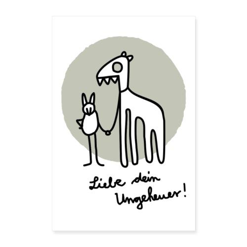 LIEBE DEIN UNGEHEUER grau Für Pärchen und Yogis - Poster 40x60 cm