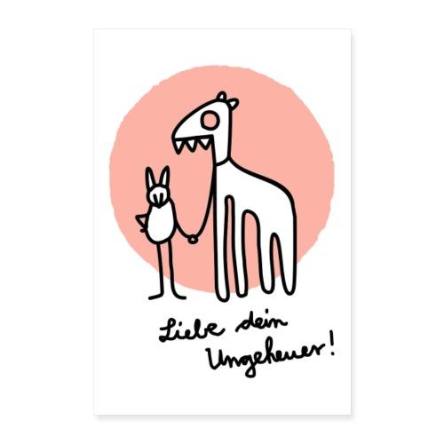 LIEBE DEIN UNGEHEUER rot Für Pärchen und Yogis - Poster 40x60 cm