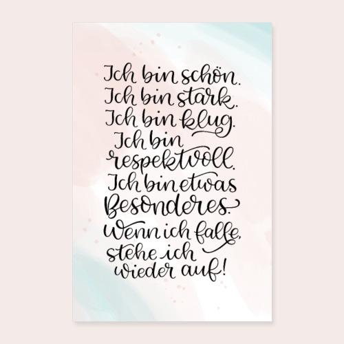 Affirmationen Lettering watercolor - Poster 40x60 cm