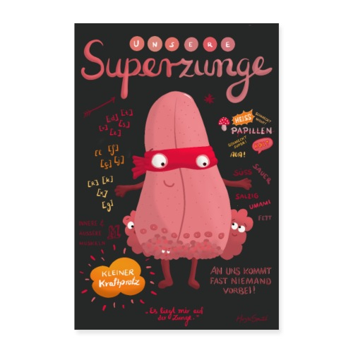 Superzunge *Anatomy Cartoon Art* - Poster 40x60 cm