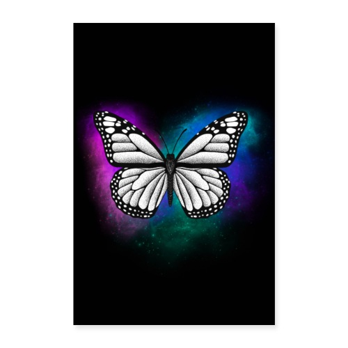 Butterfly dotwork colorful on black - Poster 40x60 cm