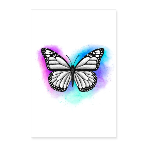 Butterfly Dotwork colorful on white - Poster 40x60 cm
