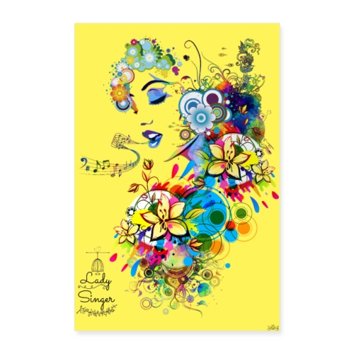 Poster - Lady singer Yellow - by Tshirtchicetchoc - Poster 40 x 60 cm