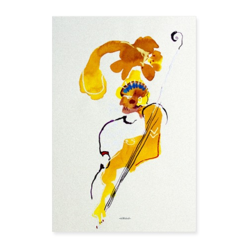 bass player by Ollivier Fouchard - Poster 40 x 60 cm