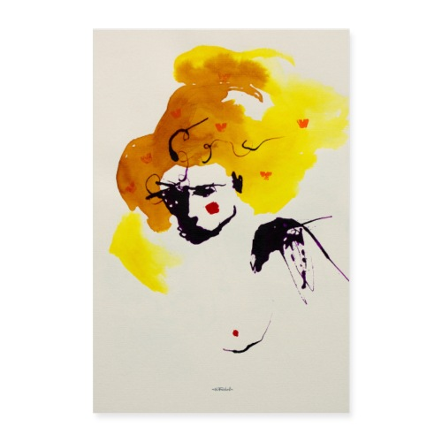 femme cheveux yellow by Ollivier Fouchard - Poster 40 x 60 cm