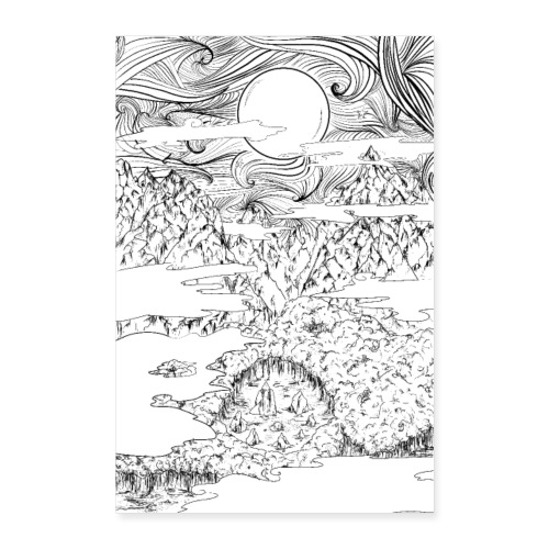doodle montagna, disegno scena naturale notturna - Poster 40x60 cm