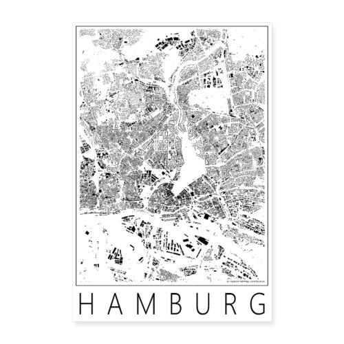 Schwarzplan Hamburg Poster Figureground Diagram - Poster 40x60 cm