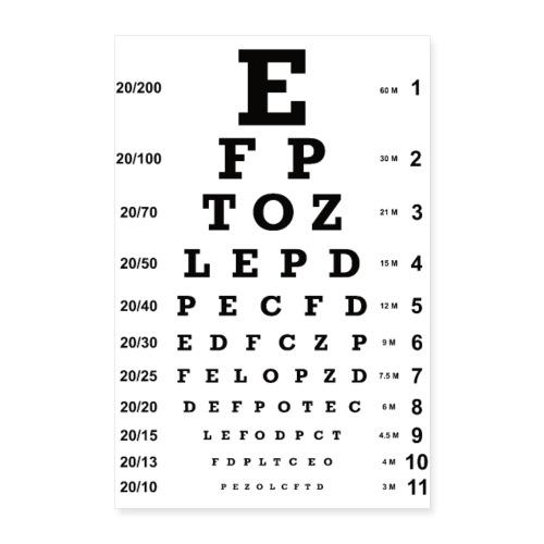 Augenoptiker Augenarzt Sehtest Brille Geschenk - Poster 40x60 cm
