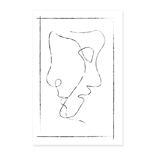 Vintage Two Faces - One Line Art - Poster 40x60 cm
