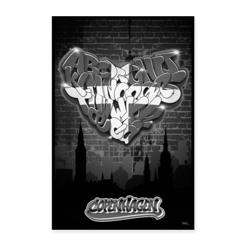 copenhagen heart graffiti letters alphabet - Poster 40x60 cm