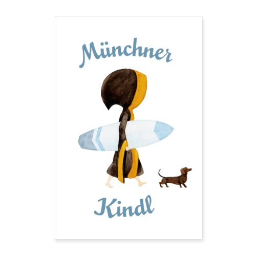 Poster Münchner Kindl Eisbach Surfer mit Dackel - Poster 40x60 cm