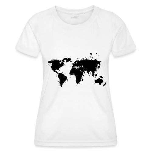 Weltkarte Splash - Frauen Funktions-T-Shirt
