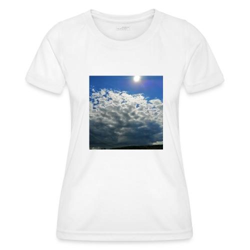 kurz blickt die Sonne über Gewitter-Himmel - Frauen Funktions-T-Shirt