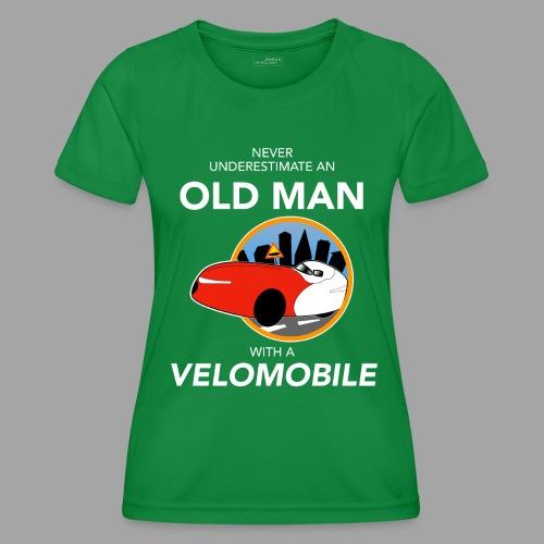 Never underestimate an old man with a velomobile - Naisten tekninen t-paita