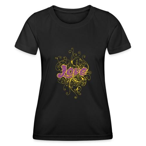 LOVE VIOLA CON DECORI - Maglietta sportiva per donna