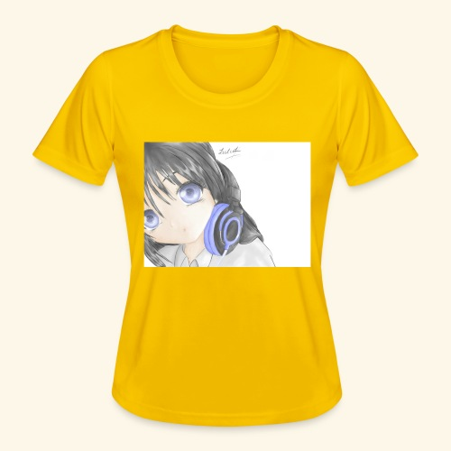Anime Girl with Headphones - Women's Functional T-Shirt