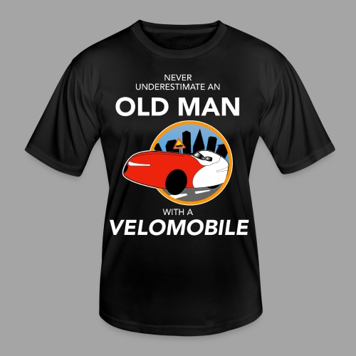 Never underestimate an old man with a velomobile - Miesten tekninen t-paita