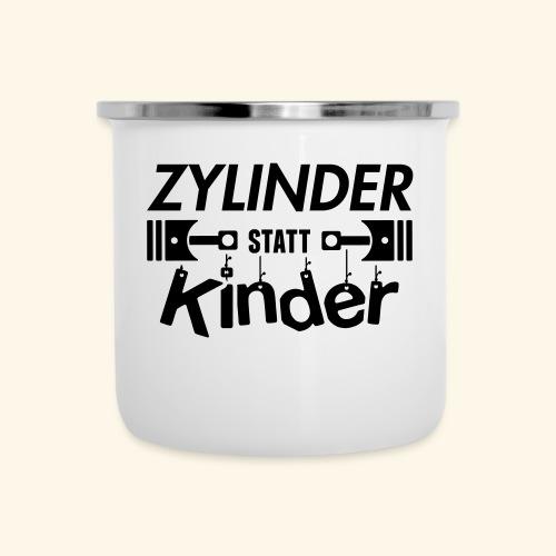 Zylinder Statt Kinder - Emaille-Tasse