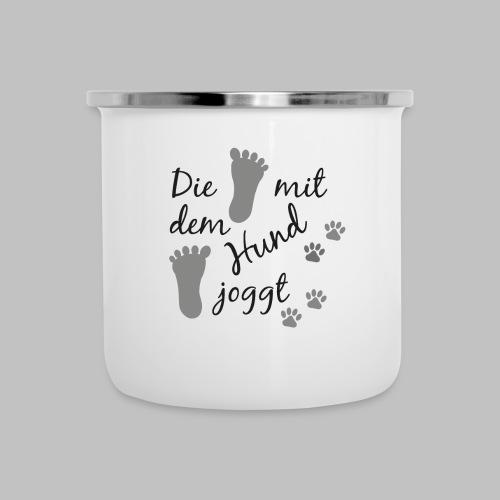 Die mit dem Hund joggt - Emaille-Tasse