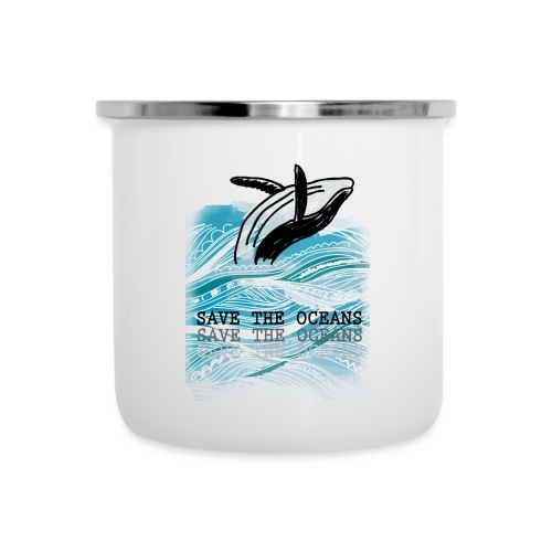 SAVE THE OCEANS - Emaille-Tasse
