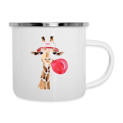 Giraffe mit Kaugummi - Emaille-Tasse
