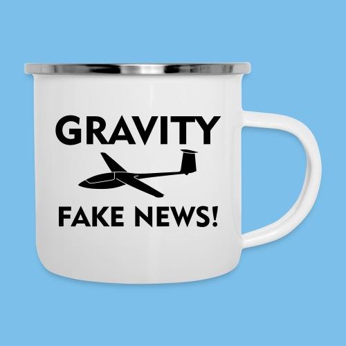 fake news Schwerkraft Segelflieger Segelflugzeug - Emaille-Tasse