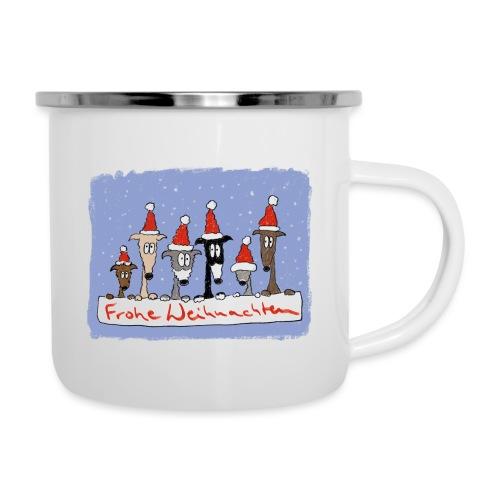 Weihnachten mit Windhunden - Emaille-Tasse