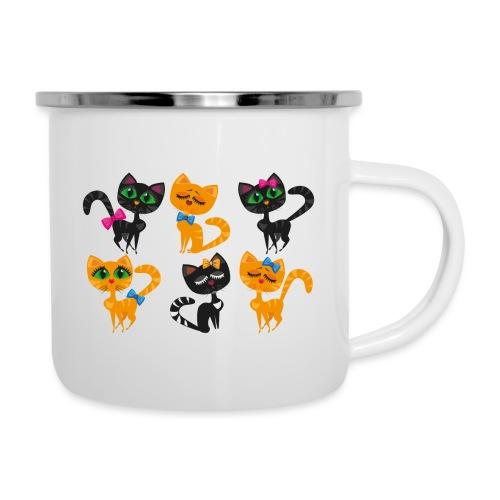 Katzen und Kätzchen majestätisch mit grossen Augen - Emaille-Tasse