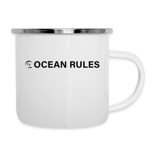 oceanrules black - Emaille-Tasse