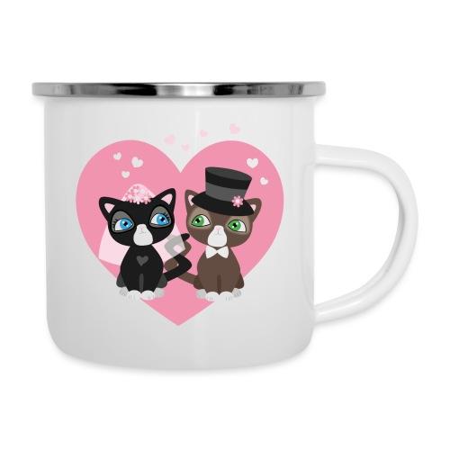 Katzen-Braut und Katzen-Bräutigam - Hochzeitspaar - Emaille-Tasse
